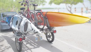 Rack And Roll Trailer Loaded With Bikes and Kayaks